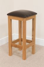 Baltic Solid Oak Bar Stool Black Leather Seat Pad