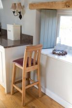 Billy Solid Oak Kitchen Stool with Red Leather pad