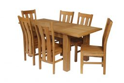 Caravella 170cm Oak Table 6 Churchill Timber Seat Oak Chair Set