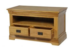 Farmhouse Country Oak TV Unit with 2 Drawers