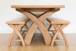 Country Oak 140cm X Leg Square Table & 2 120cm X Leg Country Oak Benches