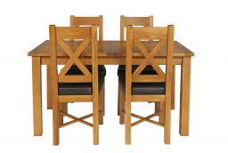 Country Oak 180cm Extending Oak Table & 4 Grasmere Brown Leather Seat Chair Set