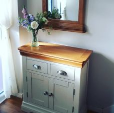80cm Farmhouse Putty Grey Painted Small Oak Sideboard Hallway Storage - WINTER SALE
