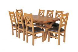 Country Oak 230cm Cross Leg Square Table & 8 Windermere Brown Leather Chairs