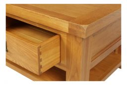 Country Oak Large 4 Drawer Coffee Table With Shelf