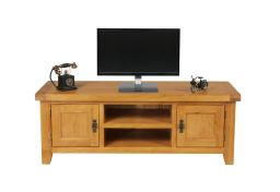 Country Oak Large Double Door TV Unit