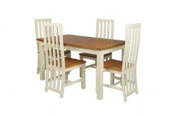 Country Oak 180cm Cream Painted Extending Dining Table & 4 Dorchester Cream Pain