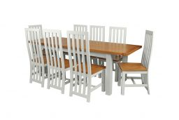 Country Oak 230cm Grey Painted Extending Dining Table and 8 Dorchester Grey Painted Chairs
