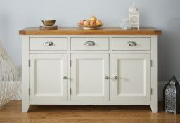 Country Cottage 140cm Grey Painted Large Oak Sideboard from Top Furniture