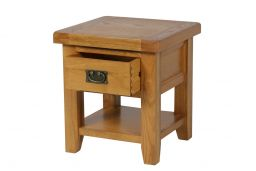 Country Oak Lamp Table With Drawer & Shelf