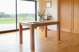 Solid Oak 130cm Chunky Corner Leg Country Oak Dining Table