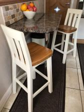 Customers photo 1 - A pair of Billy Cream Painted Kitchen Stool - Oak Seat in a customers kitchen.
