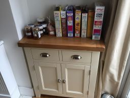 Customer photo 1 - Country Cottage 80cm Cream Painted Small Oak Sideboard in a kitchen with breakfast cereal and home made jam !