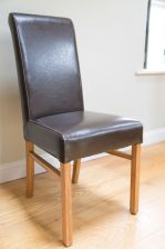Brown leather chair Emperor dark brown leather dining chair
