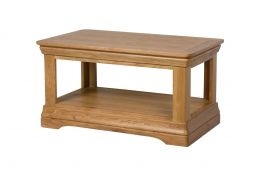 Farmhouse Oak Coffee Table with Shelf
