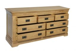 Farmhouse Country Oak Large 3 Over 4 Chest of Drawers