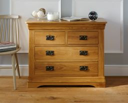 Farmhouse Country Oak 2 Over 2 Chest of Drawers Bedroom Furniture