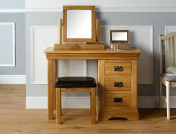 Farmhouse Country Oak Dressing Table Mirror Stool Set