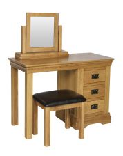 French Farmhouse Country Oak Dressing Table Mirror Stool Set