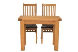 Lichfield Flip Top 100cm 50cm Oak Table 2 Lichfield Brown Leather Oak Chair Set