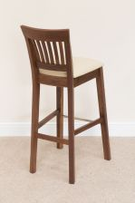 Java Dark American Solid Walnut Bar Stools Dark Brown Leather