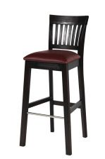 Java Solid Dark Acacia Wooden Tall Stool Red Leather