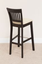 Java Cream Leather Solid Dark Brown Black Acacia Wooden Bar Stool