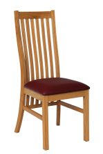 Solid Oak Red Leather Lichfield Dining Chair
