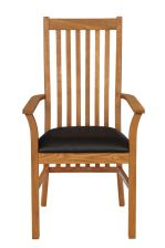 Lichfield Black Leather Carver Oak Dining Chair