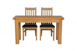 Lichfield 140cm Narrow Flip Top Extending Oak Table 2 Chelsea Brown Leather Chai