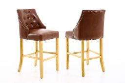 Manor Tan Brown Leather Oak Bar Stool