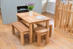 Minsk 120cm Solid Oak Table & 2 95cm Baltic Corner Leg Benches Set