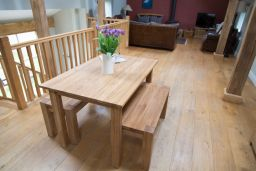 Minsk 120cm Solid Oak Table with two 95cm Baltic Corner Leg Benches Set
