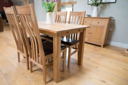 Minsk 120cm Solid Oak Table 4 Winchester Brown Leather Chairs