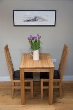 Minsk 60cm Kitchen Table & 2 Winchester Oak Brown Leather Chairs