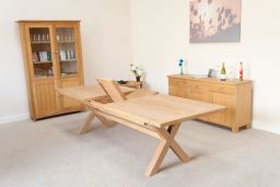 Provence 2.4m to 2.9m Cross Leg Oak Table With Square End