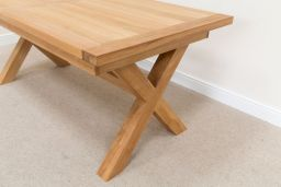 Provence 1.8m 2.3m Cross Leg Butterfly Extending Oak Dining Table Sq End