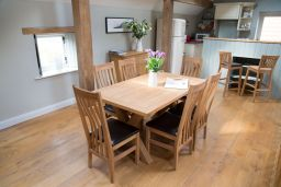 Provence 150cm Oak Table & 4 Winchester Brown Leather Chairs