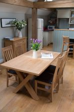 Provence 150cm Oak Dining Table & 6 Winchester Brown Leather Chairs
