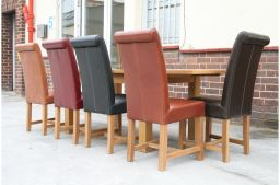 Titan Premium Scroll Back Claret Red Full Leather Solid Oak Leg Dining Chair