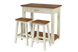 Tutbury Cream Painted Oak Breakfast Table Kitchen Stool Set
