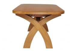 230cm Country Oak Cross Leg Extending Dining Table Oval End