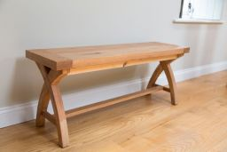 120cm indoor dining room bench with cross leg design made from solid oak