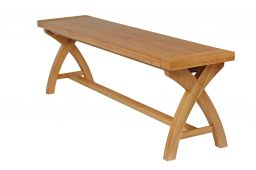 Country Oak 160cm Cross Leg Dining Bench