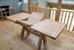 130cm Extending to 180cm Country Oak X Leg Dining Table Square End