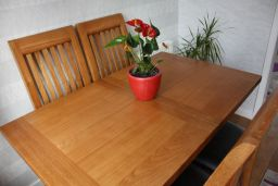 130cm Extending to 180cm Country Oak X Leg Dining Table Square Ended