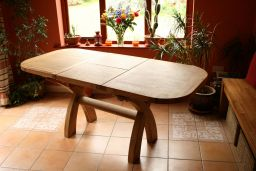 1.3m 1.8m Country Oak Cross Leg Butterfly Extending Dining Table Oval End