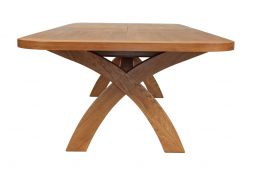 Country Oak 340cm X Leg Double Extending Large Dining Table Oval Ended
