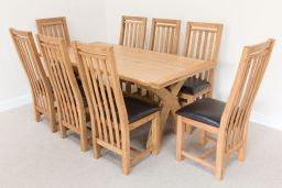 1.8m Country Oak Cross Leg Dining Table (Square End)