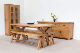 Country Oak 180cm Cross Leg Dining Table With Square Ends